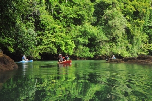 2 person sea kayaks in quiet river in Osa Peninsula