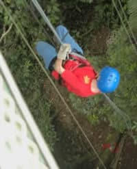 It's a long way down from the platform in Abraham, but a backup belay ensures that you will never go too fast.