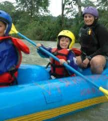 White water rafting in Costa Rica with kids.