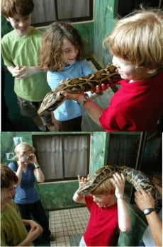 We stopped with Minor, who trains Serendipity guides in snake recognition and treatment. Garfield, a pet Boa, loves the attention from newfound friends.