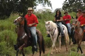 Horseback is still primary transportation in Costa Rica, so everyone rides, not just the elite. One favorite activity is the cabalgata, where whole villages ride through the countryside from farm to farm. We like to join the locals on these Sunday rides.