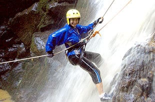 rappelling in Costa Rica waterfall