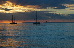 Costa Rica sailboats in sunset